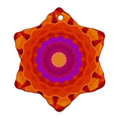 Mandala Orange Pink Bright Snowflake Ornament (Two Sides)