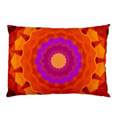 Mandala Orange Pink Bright Pillow Case (two Sides)
