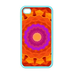 Mandala Orange Pink Bright Apple iPhone 4 Case (Color)