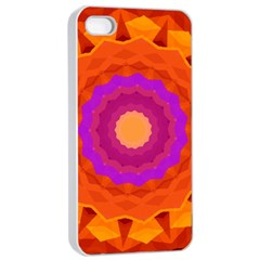 Mandala Orange Pink Bright Apple iPhone 4/4s Seamless Case (White)