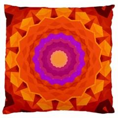 Mandala Orange Pink Bright Large Cushion Case (One Side)