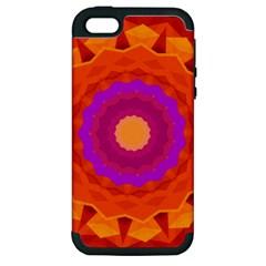 Mandala Orange Pink Bright Apple iPhone 5 Hardshell Case (PC+Silicone)