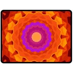 Mandala Orange Pink Bright Double Sided Fleece Blanket (large)
