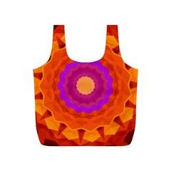 Mandala Orange Pink Bright Full Print Recycle Bags (s)