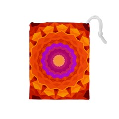Mandala Orange Pink Bright Drawstring Pouches (medium)