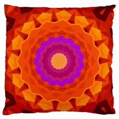 Mandala Orange Pink Bright Large Flano Cushion Case (One Side)
