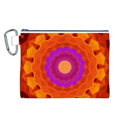 Mandala Orange Pink Bright Canvas Cosmetic Bag (l)
