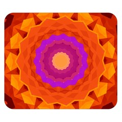 Mandala Orange Pink Bright Double Sided Flano Blanket (small)