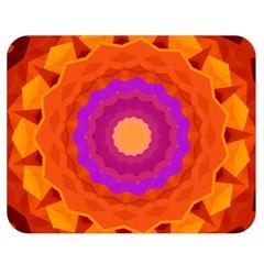 Mandala Orange Pink Bright Double Sided Flano Blanket (medium)