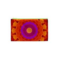 Mandala Orange Pink Bright Cosmetic Bag (xs)