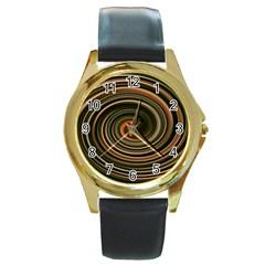 Strudel Spiral Eddy Background Round Gold Metal Watch