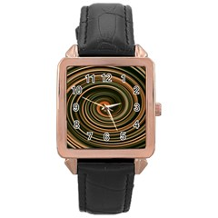 Strudel Spiral Eddy Background Rose Gold Leather Watch