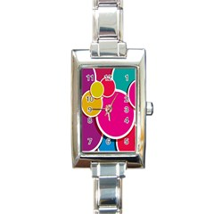 Paint Circle Red Pink Yellow Blue Green Polka Rectangle Italian Charm Watch