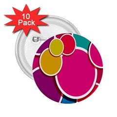 Paint Circle Red Pink Yellow Blue Green Polka 2.25  Buttons (10 pack)