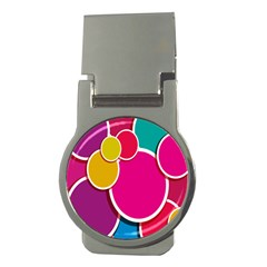 Paint Circle Red Pink Yellow Blue Green Polka Money Clips (Round)