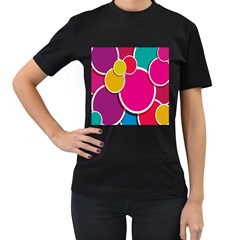 Paint Circle Red Pink Yellow Blue Green Polka Women s T-Shirt (Black) (Two Sided)