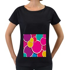 Paint Circle Red Pink Yellow Blue Green Polka Women s Loose-Fit T-Shirt (Black)