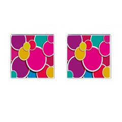 Paint Circle Red Pink Yellow Blue Green Polka Cufflinks (Square)