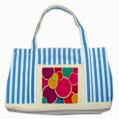 Paint Circle Red Pink Yellow Blue Green Polka Striped Blue Tote Bag