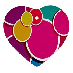 Paint Circle Red Pink Yellow Blue Green Polka Heart Ornament (Two Sides)