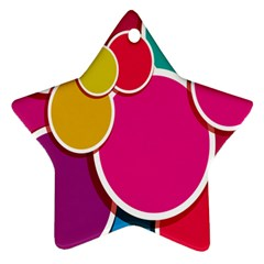 Paint Circle Red Pink Yellow Blue Green Polka Star Ornament (Two Sides)