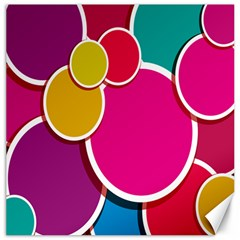 Paint Circle Red Pink Yellow Blue Green Polka Canvas 12  x 12