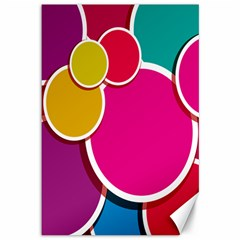 Paint Circle Red Pink Yellow Blue Green Polka Canvas 12  x 18