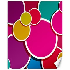 Paint Circle Red Pink Yellow Blue Green Polka Canvas 11  x 14