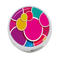 Paint Circle Red Pink Yellow Blue Green Polka 4-Port USB Hub (Two Sides)