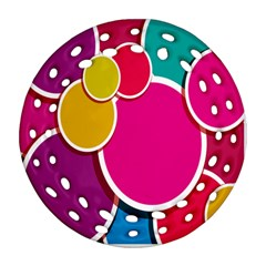 Paint Circle Red Pink Yellow Blue Green Polka Round Filigree Ornament (Two Sides)