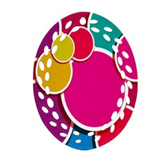 Paint Circle Red Pink Yellow Blue Green Polka Oval Filigree Ornament (Two Sides)