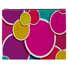 Paint Circle Red Pink Yellow Blue Green Polka Cosmetic Bag (XXXL)