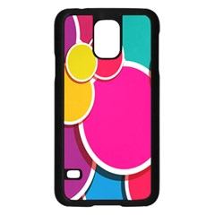 Paint Circle Red Pink Yellow Blue Green Polka Samsung Galaxy S5 Case (Black)
