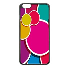 Paint Circle Red Pink Yellow Blue Green Polka Apple iPhone 6 Plus/6S Plus Black Enamel Case