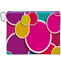 Paint Circle Red Pink Yellow Blue Green Polka Canvas Cosmetic Bag (XXXL)