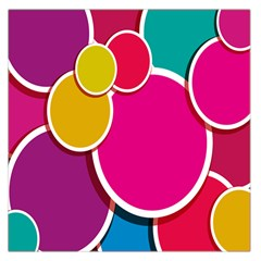 Paint Circle Red Pink Yellow Blue Green Polka Large Satin Scarf (Square)