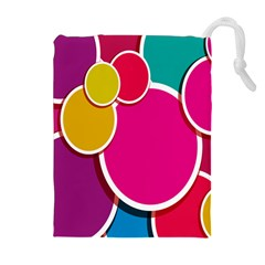 Paint Circle Red Pink Yellow Blue Green Polka Drawstring Pouches (Extra Large)