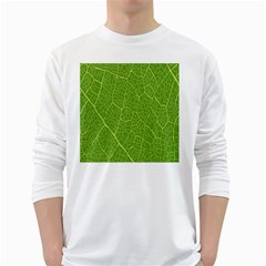 Green Leaf Line White Long Sleeve T-Shirts