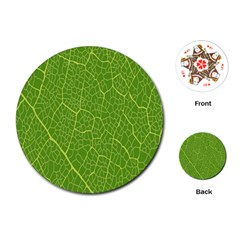 Green Leaf Line Playing Cards (Round)