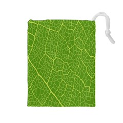 Green Leaf Line Drawstring Pouches (Large)