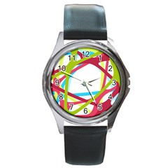 Nets Network Green Red Blue Line Round Metal Watch