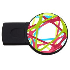 Nets Network Green Red Blue Line USB Flash Drive Round (1 GB)