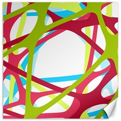 Nets Network Green Red Blue Line Canvas 16  x 16