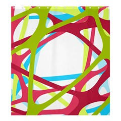 Nets Network Green Red Blue Line Shower Curtain 66  x 72  (Large)