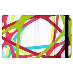 Nets Network Green Red Blue Line Apple iPad 3/4 Flip Case