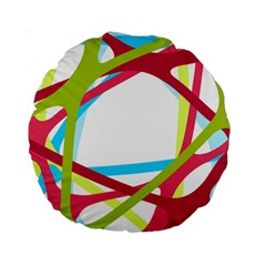 Nets Network Green Red Blue Line Standard 15  Premium Round Cushions
