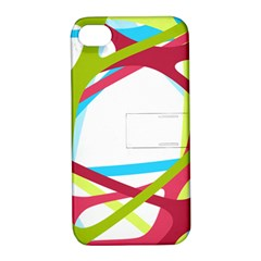 Nets Network Green Red Blue Line Apple iPhone 4/4S Hardshell Case with Stand