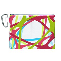 Nets Network Green Red Blue Line Canvas Cosmetic Bag (XL)