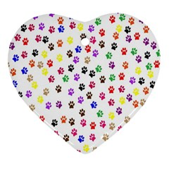 Paw Prints Dog Cat Color Rainbow Animals Ornament (Heart)