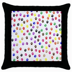Paw Prints Dog Cat Color Rainbow Animals Throw Pillow Case (Black)